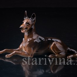 Статуэтка собаки из фарфора Овчарка, миниатюра, Hutschenreuther, Германия, 1970 гг..