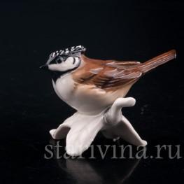 Статуэтка птицы из фарфора Хохлатая синица, Goebel, Германия, до 1991 г.