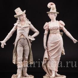 Фарфоровая композиция Пара в дорожных костюмах, Royal Dux, Чехия, 1900 гг.