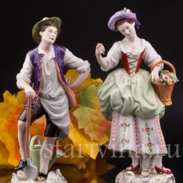 Парная фарфоровая статуэтка Пара садовников, Rudolf Kammer, Германия, вт.пол. 20 в.