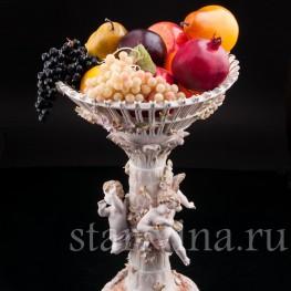 Фарфоровая ваза Фруктовница три путти, Von Schierholz, Германия, 1865-1907 гг.